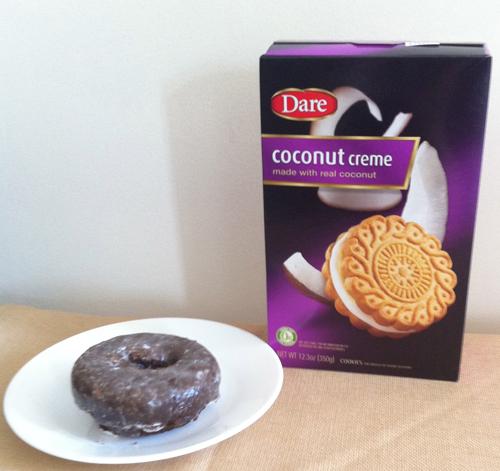 Glazed chocolate doughnut; cookies