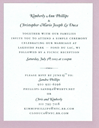 Picnic reception invite