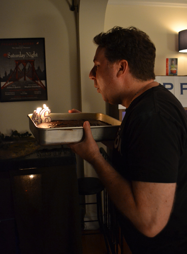 Blowing out candles on his 46th Birthday! :)