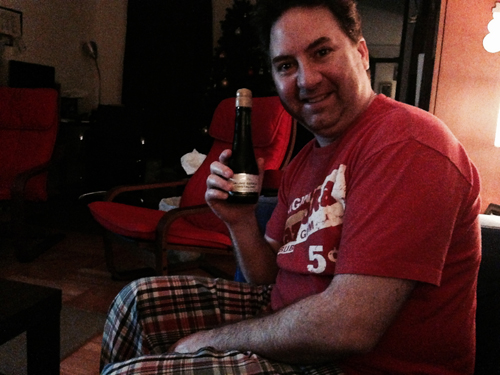 Chris with Brut Champagne to celebrate the New Year