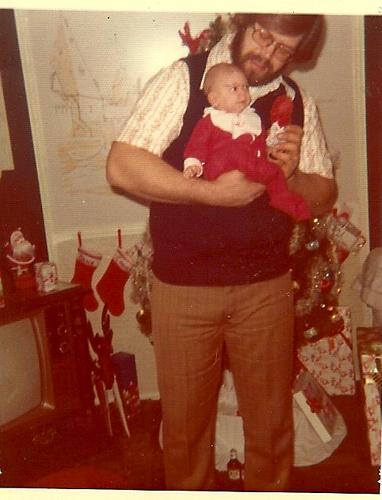 Dad & Kim Christmas 1974